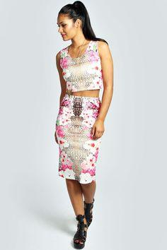 c4f1d218d8b4a6 Kaitlyn Leopard Floral Crop Top   Midi Skirt Co-Ord Set