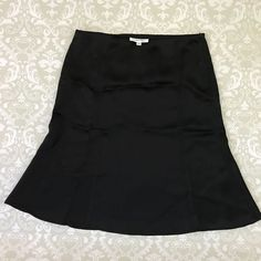 Calvin Klein skirt 2 black a-line career shiny knee length #CalvinKlein #ALine