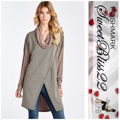 ⭐️Now Available  Mocha Top⭐️ This is the only top you need this winter!JACQUARD DOT COWL NECK LONG SLEEVE TOP!  Dress it up,with jeans and heels! Also comes in charcoal gray! This will sell out! Don't buy this listing! Leave your size in the comments! Comes in S,M,L⭐️Small measures 41 inches in the bust,⭐️Medium measures 44 inches in the bust⭐️Large measures 46 inches in the bust Tops
