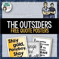 "THE OUTSIDERS - A set of 8 posters with significant quotes from S.E. Hinton's ""The Outsiders"". A great way to spark student discussion, as a writing prompt or as classroom décor! They look great printed in color or in black and white. **Part of my package of projects and assignments for ""The Outsiders"" available on TpT - please see the link below for"