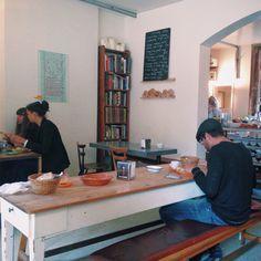 Leila's shop and cafe. Shoreditch, London. Photo: Rob Bentley 9/15 #cafe #coffeeshop