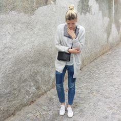 tifmys - H&M cardi, shirt and jeans, No Name Trio bag & Superga sneakers.