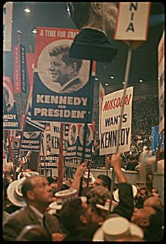 July 13, 1960. Presidential nominations are made at the Democratic Convention. LBJ is nominated by Sam Rayburn. JFK receives the Democratic presidential nomination on the first ballot, receiving 806 votes to LBJ's 409. (Source: LBJ Library)