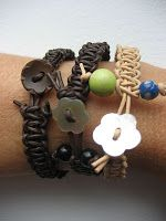 Woven Macrame-style Leather Bracelets with Button Clasp DIY - How To Make Leather Jewelry Tutorials - The Beading Gem's Journal - Beachy Jewelry