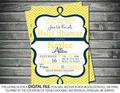 Gender Neutral Baby Shower Invitation  Chevron Navy by Sassygfx, $13.00