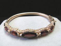 Vintage Estate 14K Hinged Garnet Bracelet on Etsy,