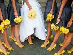 Sunshine yellow and navy blue wedding theme