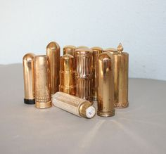 RESERVED  40s60s Gold Metal LIPSTICK TUBE Bullet by lolanyevintage, $45.00