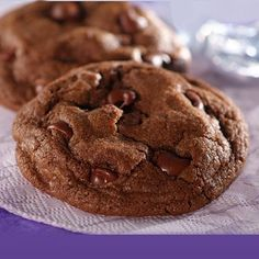 Chocolate lover's rejoice! These cocoa cookies are filled with chips for a double dose of chocolate.