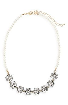 Sole Society Pearly Bead and Crystal Collar Necklace available at #Nordstrom