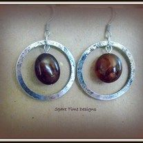 #Necklace and #Earring set are made with dyed Golden #Agate nuggets encircled in stainless steel rings.
