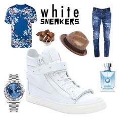 """""""ATTENTION GRABBER"""" by greenacres1124 ❤ liked on Polyvore featuring Giuseppe Zanotti, Dolce&Gabbana, Dsquared2, Rolex, Versace, Paul Smith, Orciani, men's fashion, menswear and whitesneakers"""