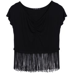 New Fashion Women Sexy Casual T Shirt Fringe Stitching V Neck Short... (€6,30) ❤ liked on Polyvore featuring tops, shirts, crop top, blusas, short sleeve crop top, sexy shirts, men shirts, fringe crop top and fringe shirt