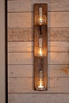Most Inspiring DIY Backyard Lighting Ideas on a Budget Modern Wood Fence, Colored Glass Bottles, Bamboo Light, Barn Wood Crafts, Diy Cans, Diy Candle Holders, Backyard Lighting, Candle Stand, Bottle Lights