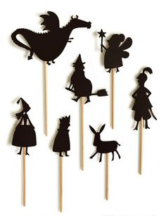 Night Shadow Puppets: Make your own shadow puppet show with this set. It begins with: Once upon a time there was a beautiful Princess that lived in a castle in the forest. She had a very strict father (the King)…. Set includes 7 shadow puppets and 2 background sets, plus a wonderfully adventurous story. Just add a lamp and let the storytelling begin.