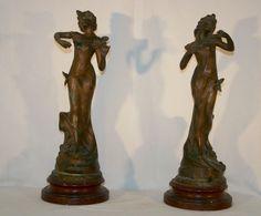 PAIRE de STATUES FEMME ART NOUVEAU 1900 par CAUSSE CADET Libellule & Papillon | eBay