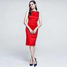 Red silky dress with tie belt and pleat detail