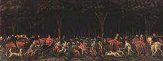 Paolo Uccello,caccia notturna, ca 1470, olio su tela, 65 x 165 cm, Ashmolean Museum, Oxford