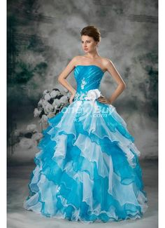 Ball Gown Organza Floor Length Strapless Colorful Wedding Dress