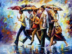 "Hoy olvidé mi paraguas, lluvia de espátula figuras pintura al óleo sobre lienzo de Leonid Afremov. Tamaño: 40 ""X 30"" pulgadas (100 x 75 cm)"