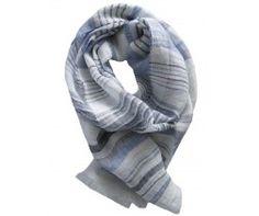 Foulard  lin bleu, gris foncé et blanc SALERNE