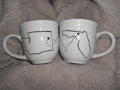 DIY Coffee Mugs. Draw/write with a sharpie then bake @ 350 for 30 mins.