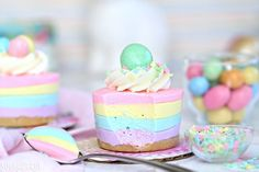 Easter No-Bake Mini Cheesecakes cake seeking out an easy Easter dessert? those Easter No-Bake Mini Cheesecakes are ideal! They're adorable pastel striped cheesecakes that are simple to make, no baking required! Easy Easter Desserts, Easter Treats, Mini Desserts, Easter Recipes, Dessert Recipes, Easter Food, Cheesecake Recipes, Easter Appetizers, Lemon Cheesecake