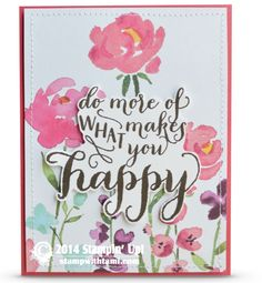 One of my favorite new products in the 2015 Stampin Up Occasions catalog that is coming out January 6, is the Painted Blooms designer series paper. It's double sided printed 12×12 paper, and the original designs were handpainted by an artist at Stampin Up. It's beautiful. This card uses the Painted Blooms DSP with a new stamp set called What Makes You Happy.
