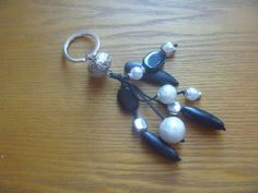 black and white keychain ecofriendly beaded by CraftyGreenPoet