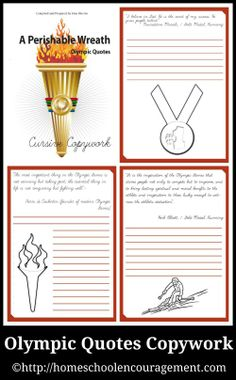 I've prepared two books of Olympic Quotes copywork – one in cursive and one in manuscript.  Each of these books has 18 pages of copywork and note booking pages from #hsencouragement #homeschool