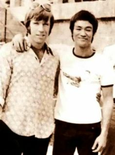 """Chuck Norris and Bruce Lee with their arms around each other. James Earl Jones just said """"Totes adorbs"""""""