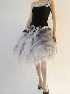 750bd1b8d Prom Dress Black White Rose Tulle Tattered Ruffled Layered Dress Wedding  Bride Bridesmaid Prom Graduation Party By Zollection (Custom Order)