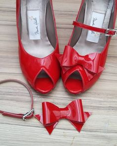 What a difference a bow (and a strap) makes. #handmade #redshoes