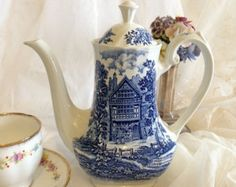 "Lovely ""Shakespeare's Country"" Transferware Coffee or Tea Pot, made by Ridgeway of Staffordshire, England. Collectible"