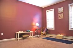 staged vacant bedroom as a yoga room, January 2015, photo by Christine spitale at www.sunflowerstaging.com -- low budget solution, had no furniture to stage as a bedroom