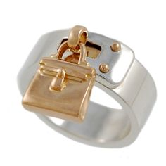 HERMES Sterling Silver and Pink Gold Handbag Ring