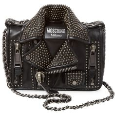 Moschino Women's Studded Leather Shoulder Bag - Black ($1,599) ❤ liked on Polyvore featuring bags, handbags, shoulder bags, black, leather shoulder bag, studded leather purse, shoulder strap bags, leather shoulder handbags and shoulder handbags