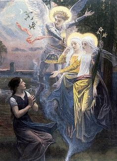 Joan of Arc Listening to the Voices - Diogenes Ulysses Mai… Joan D Arc, Saint Joan Of Arc, St Joan, Catholic Art, Catholic Saints, Religious Art, Catholic Gospel, Jeanne D'arc, Inspirational Artwork