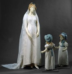 Wedding ensemble of white cotton batiste embroidered with white cotton thread. Dress made from an original muslin dress fabric dated c. 1801-1820.