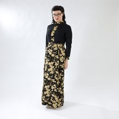 Sparkly Vintage Full-Length Dress- Black with Gold, Yellow, and Brown Floral Print on Etsy, $45.00