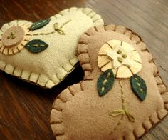 Recycled fabric puffy hearts