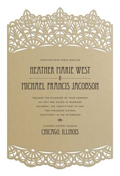 Die-cuts are a decadent and unique way to style your invitations, perfect for weddings and formal events. Pictured: Die-cut Gatsby Wedding Invitation from Luscious Verde