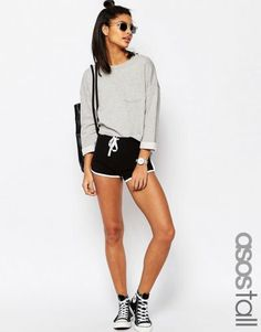 ASOS TALL Basic Cotton Shorts with Contrast Binding – Black