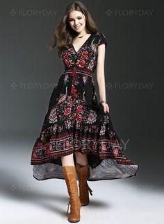 Polyester Floral Short Sleeve Mid-Calf Vintage Dresses