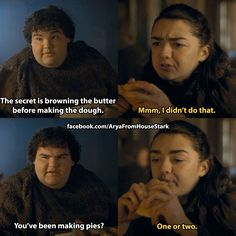 I ONLY NOW REALIZED SHE MEANT THE FREY PIES. OH MY GOD I'M SUCH A DUMBASS.