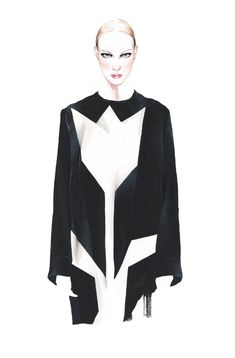 Fashion illustration - fashion drawing of Stella McCartney dress // Antonio Soares