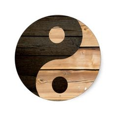 A wood yin yang design.