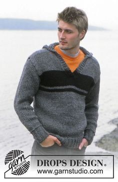 Theodor - Men's pullover with hood, v-neck and stripes in DROPS Eskimo - Free pattern by DROPS Design Mens Knit Sweater Pattern, Crochet Hoodie, Hoodie Pattern, Sweater Knitting Patterns, Men Sweater, Free Knitting, Crochet Patterns, Boyfriend Sweater, Gray Sweater
