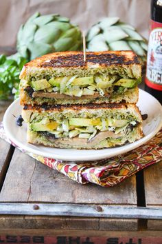 Lean Green Portobello, Pesto, Artichoke & Avocado Panini by The Fettle Vegan