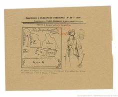 Pattern from Élégances féminines. Revue mensuelle de la grande couture parisienne 1913.